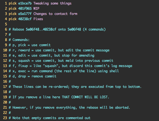 Commit message from git rebase -i